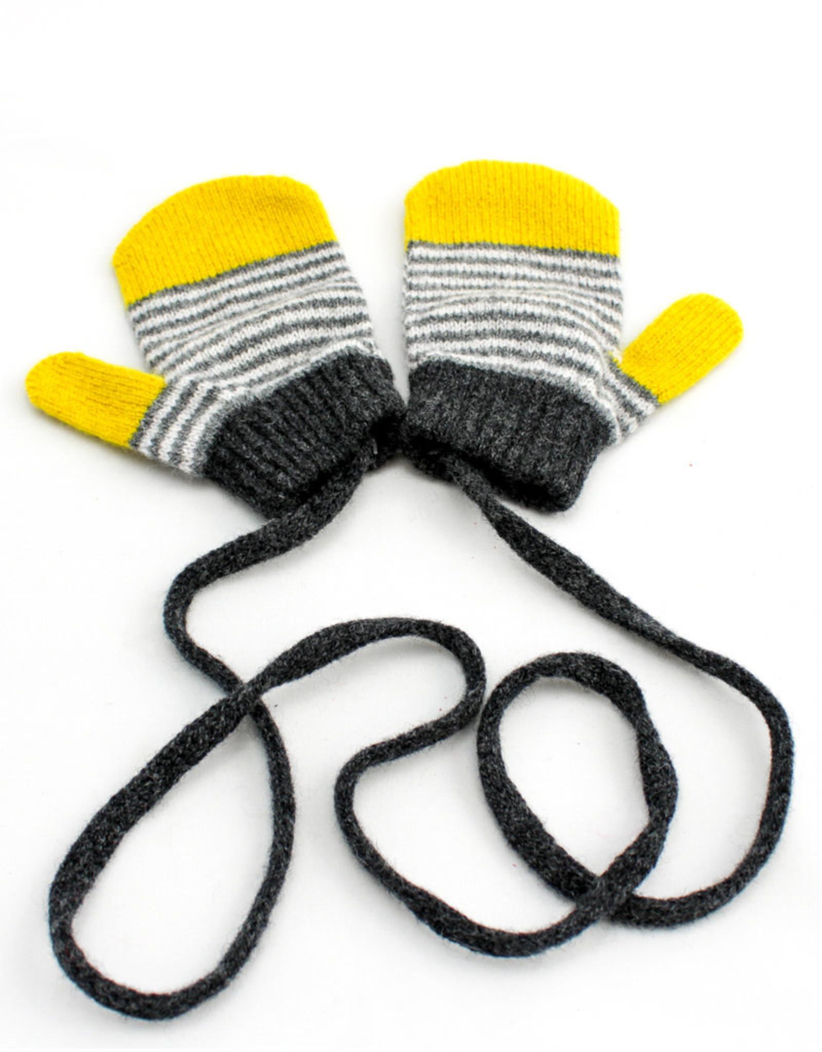 Catherine Tough Lambswool Mittens Stripe Yellow