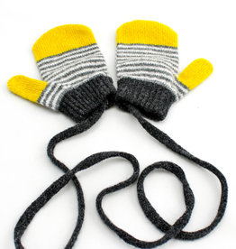 Catherine Tough Lambswool Mittens Stripe Yellow