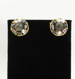 Abra Couture Grey Circle Stud