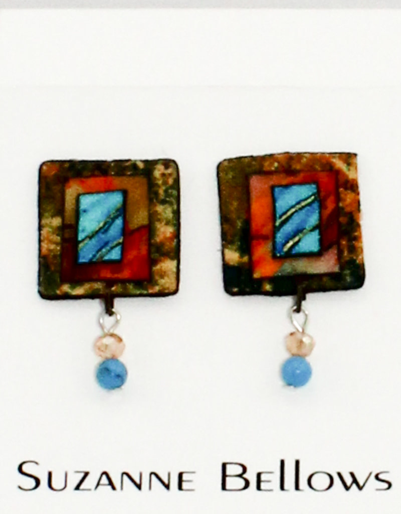 blue palms fiber art Hand dyed Silk Drop Earrings
