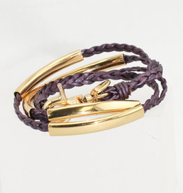 Lizzy James Mini Addison-Met Berry-2-Gold-S Bracelet