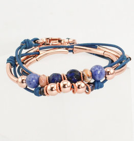 Lizzy James Danica Nat True Blue 2 Rose -GP-S Bracelet