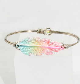 Luca + Danni Lucky Feather Bangle Bracelet in Rainbow_Regular_Silver Tone