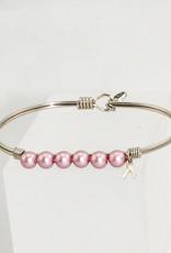 Luca + Danni Crystal Pearl Bracelet in Pink Ribbon-Regular size