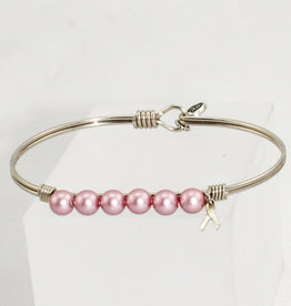 Luca + Danni Crystal Pearl Bangle Bracelet in Pink Ribbon_silver tone_regular