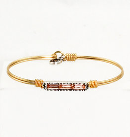 Luca + Danni Mini Hudson Bangle Bracelet in Peach_Regular_Brass Tone