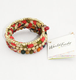 World Finds BR-3042 Glimmer Kantha Bracelet