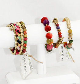 World Finds Ringed Loop Kantha Bracelet