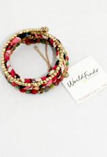 World Finds Glimmer Kantha Spiral Bracelet