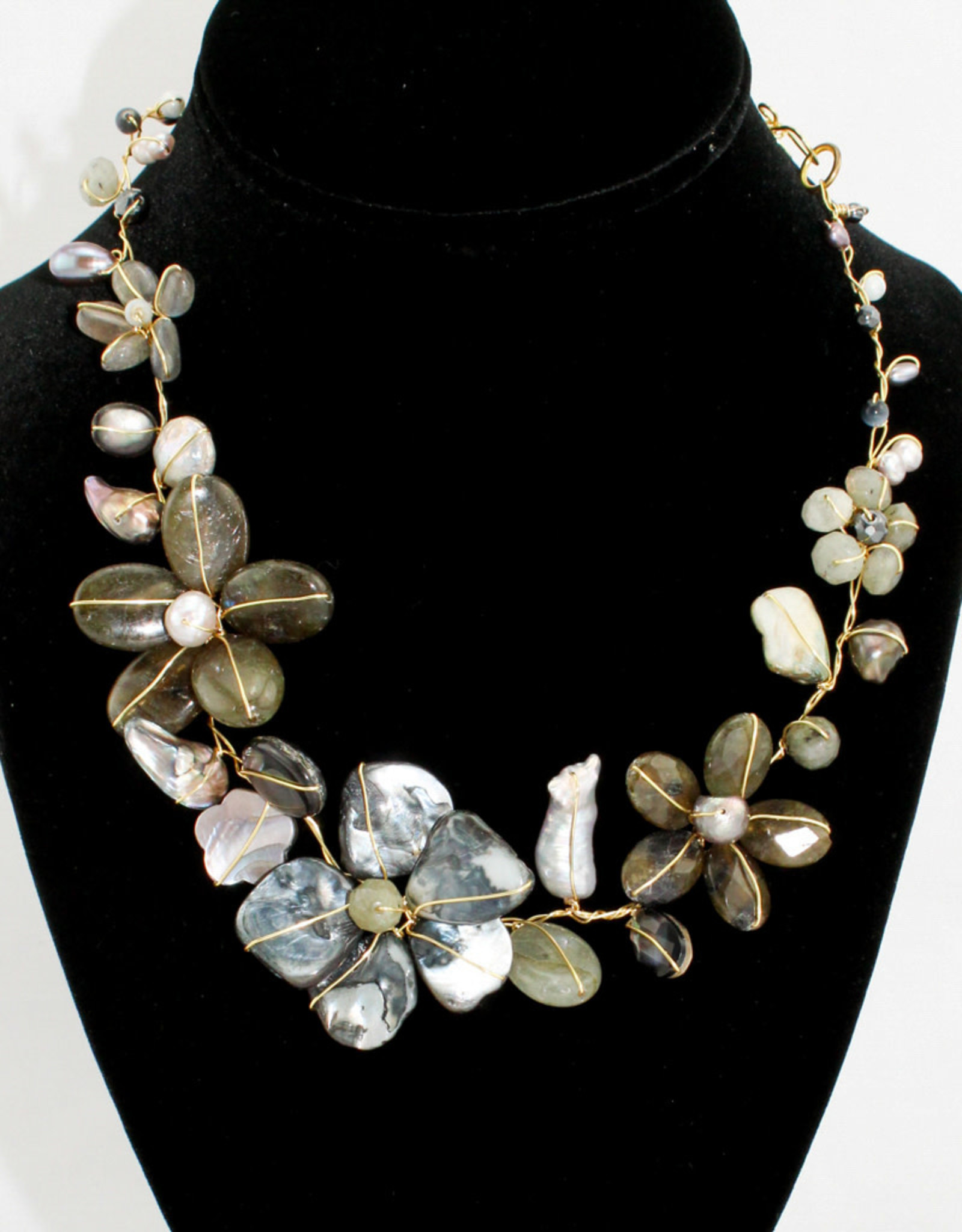 Abra Couture Grey Pearl Gem Flower Collar