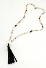 Jewelry By Barbara Agate/Pyrite/Black Leather Tassel Necklace