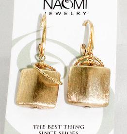Naomi Jewelry 13mm gold vermeil pillow w/ 2 vermeil rings, leverback