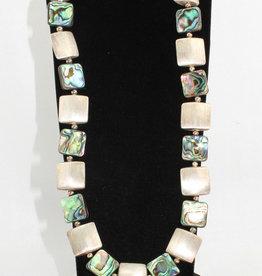 Naomi Jewelry 17mm ss pillows+abalone, alternating