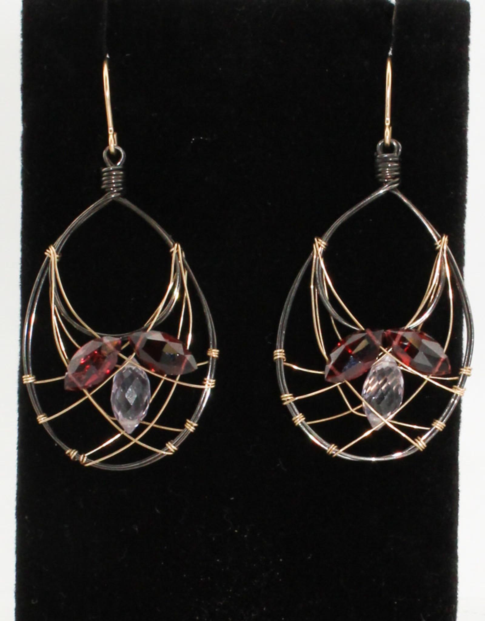 Ornatem Garnet Rose Quartz Earrings