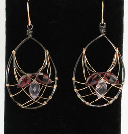 Ornatem Garnet Rose Quartz Earrings