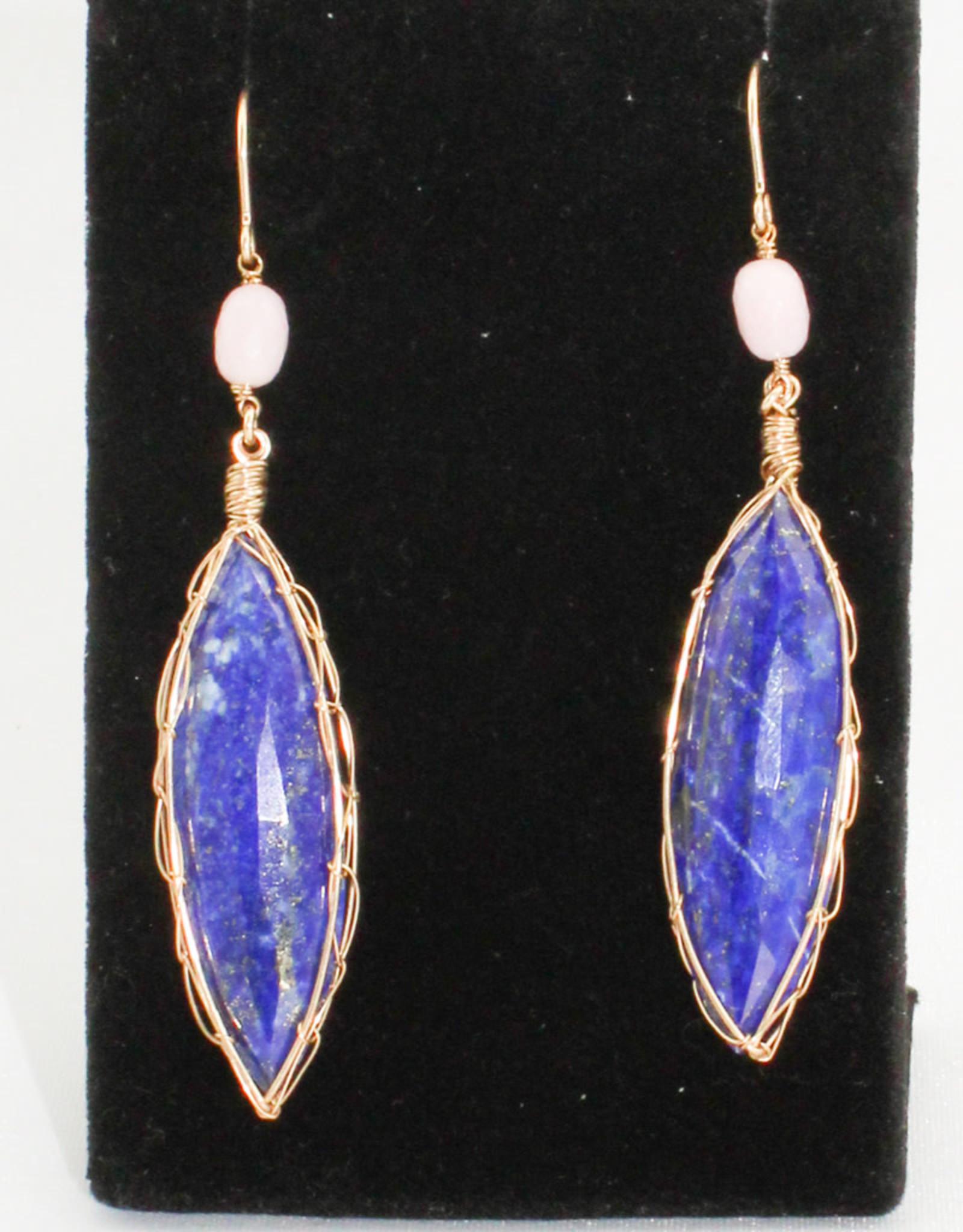 Ornatem Lapis Pink Opal Earrings