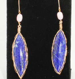 Ornatem Lapis Pink Opal earrings