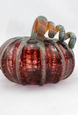 Luke Adams Handblown Glass Squat Pumpkin-Frosted Cranberry