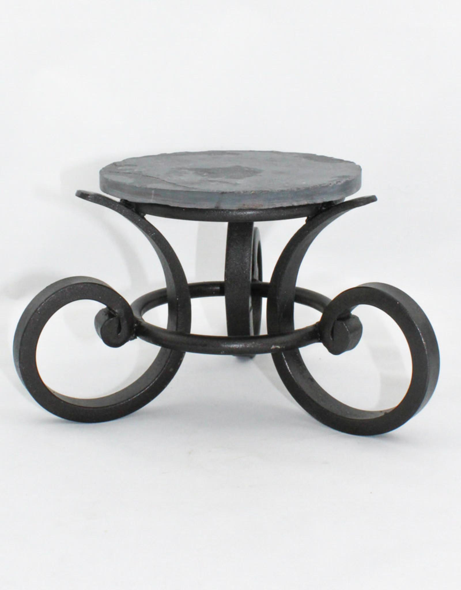 Fresh Cut Glass Wrought Iron Stand-Black Finish