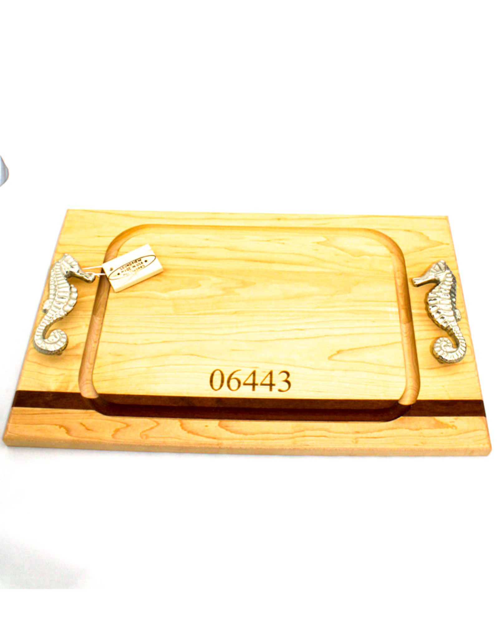Soundview Millworks Medium Steak Board with 06443 Zip Code-Seahorse Handle