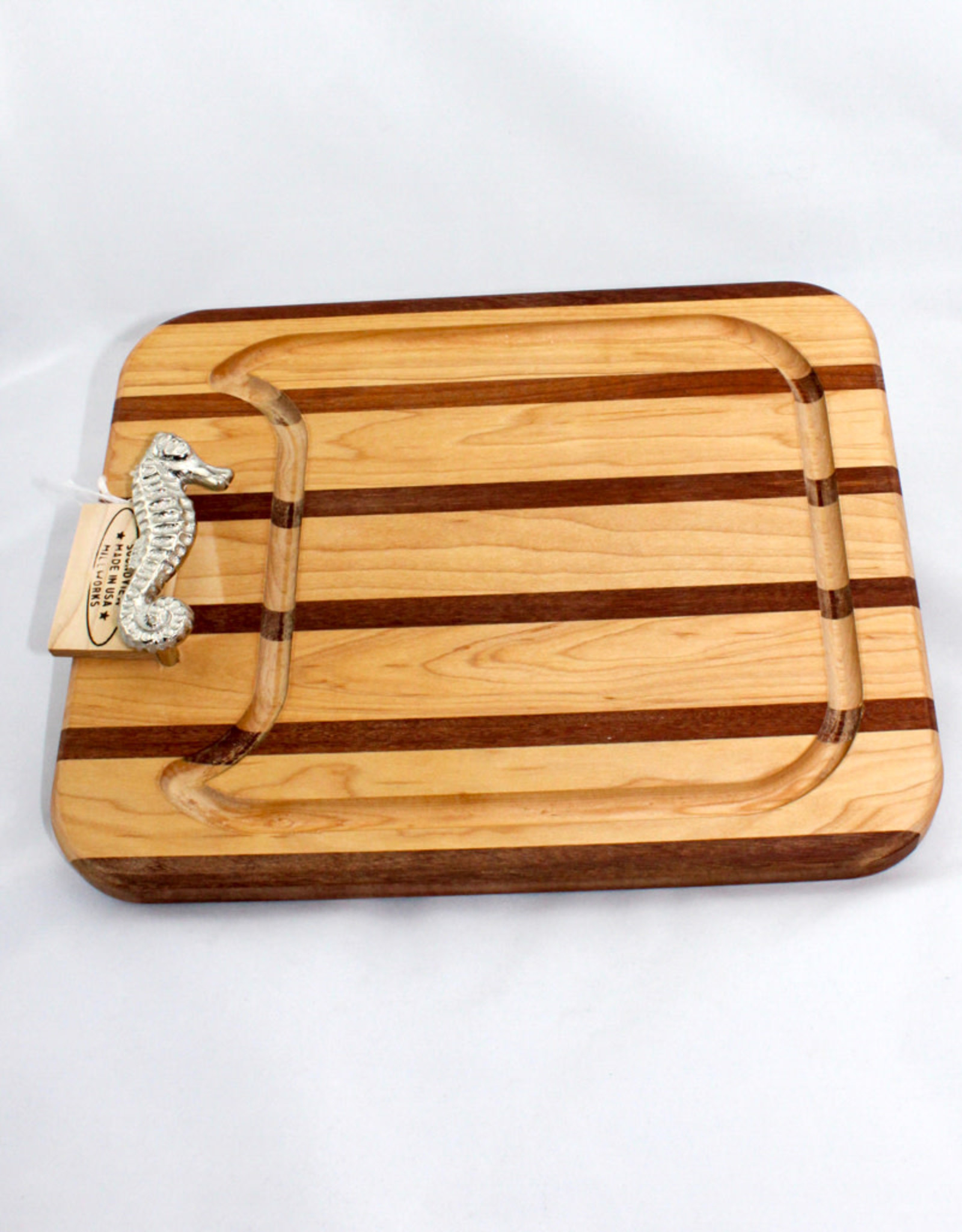 Soundview Millworks Small Multi Stripe Appetizer Board with Seahorse Handle