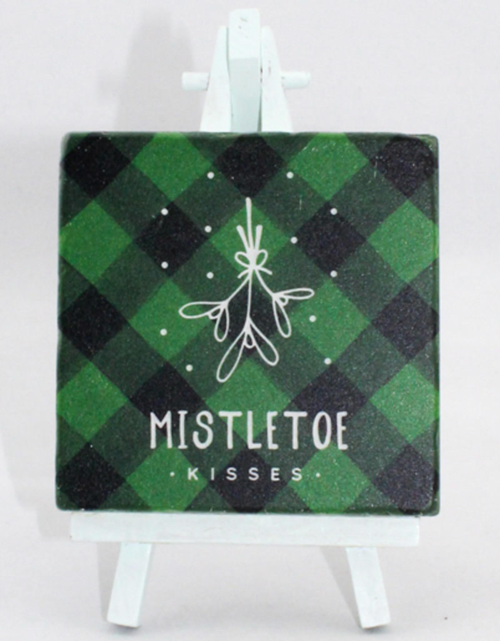 Paisley & Parsley Mistletoe Kisses Green Coaster