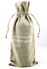 Face to Face Designs Linen wine bags-good friends