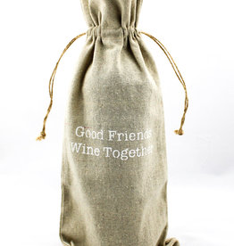 Face to Face Designs WINE026 Linen wine bags-good friends