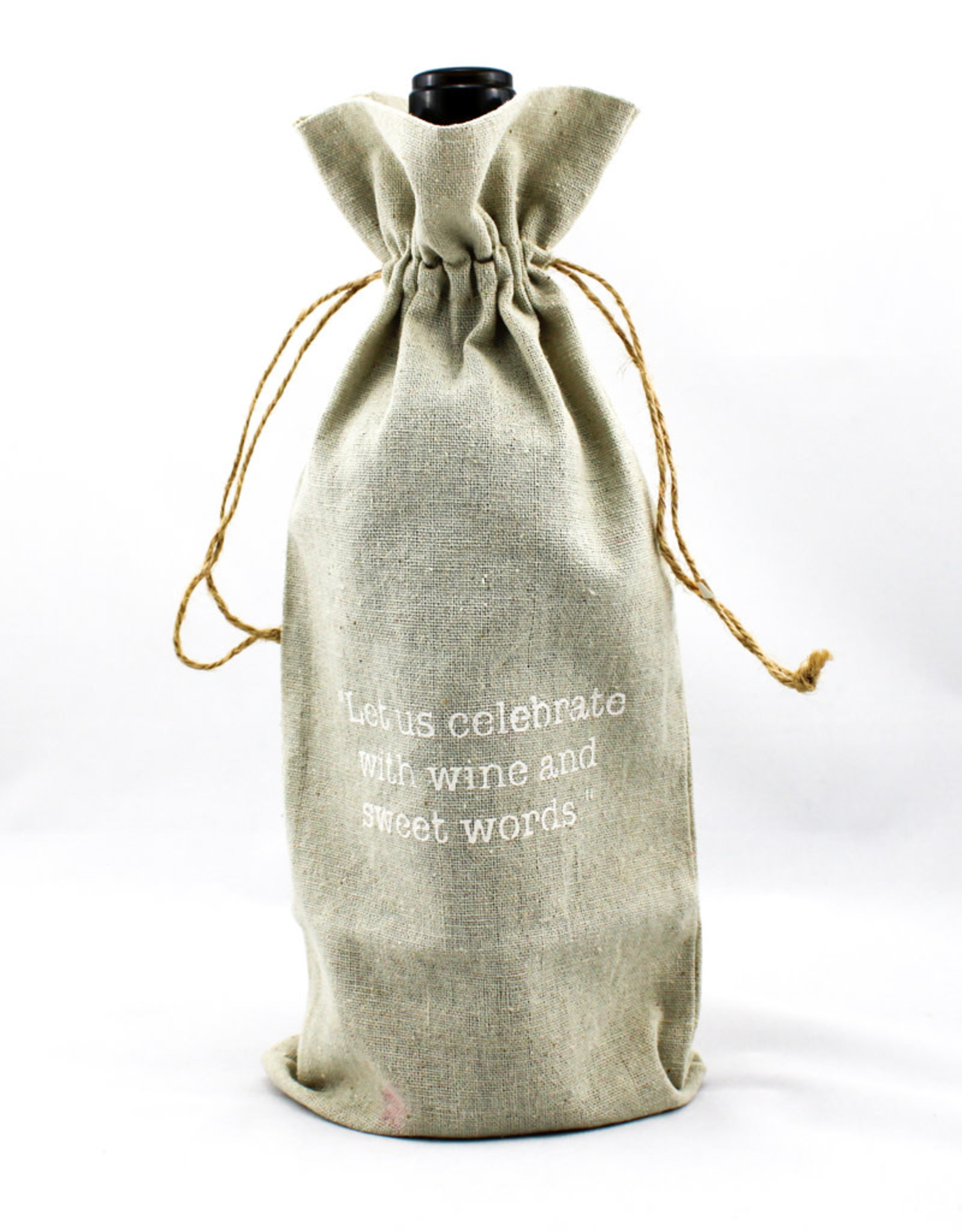 Face to Face Designs Linen wine bags-let's celebrate
