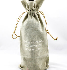 Face to Face Designs WINE044 Linen wine bags-let's celebrate