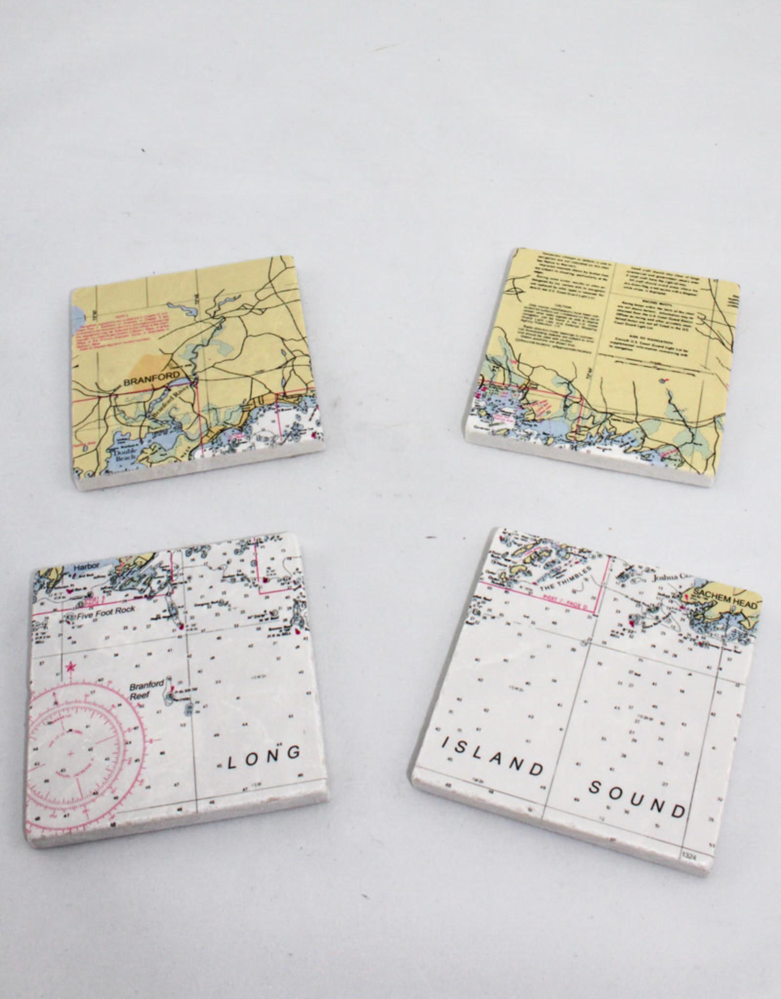 Screen Craft Tile Works Branford Map tile coasters