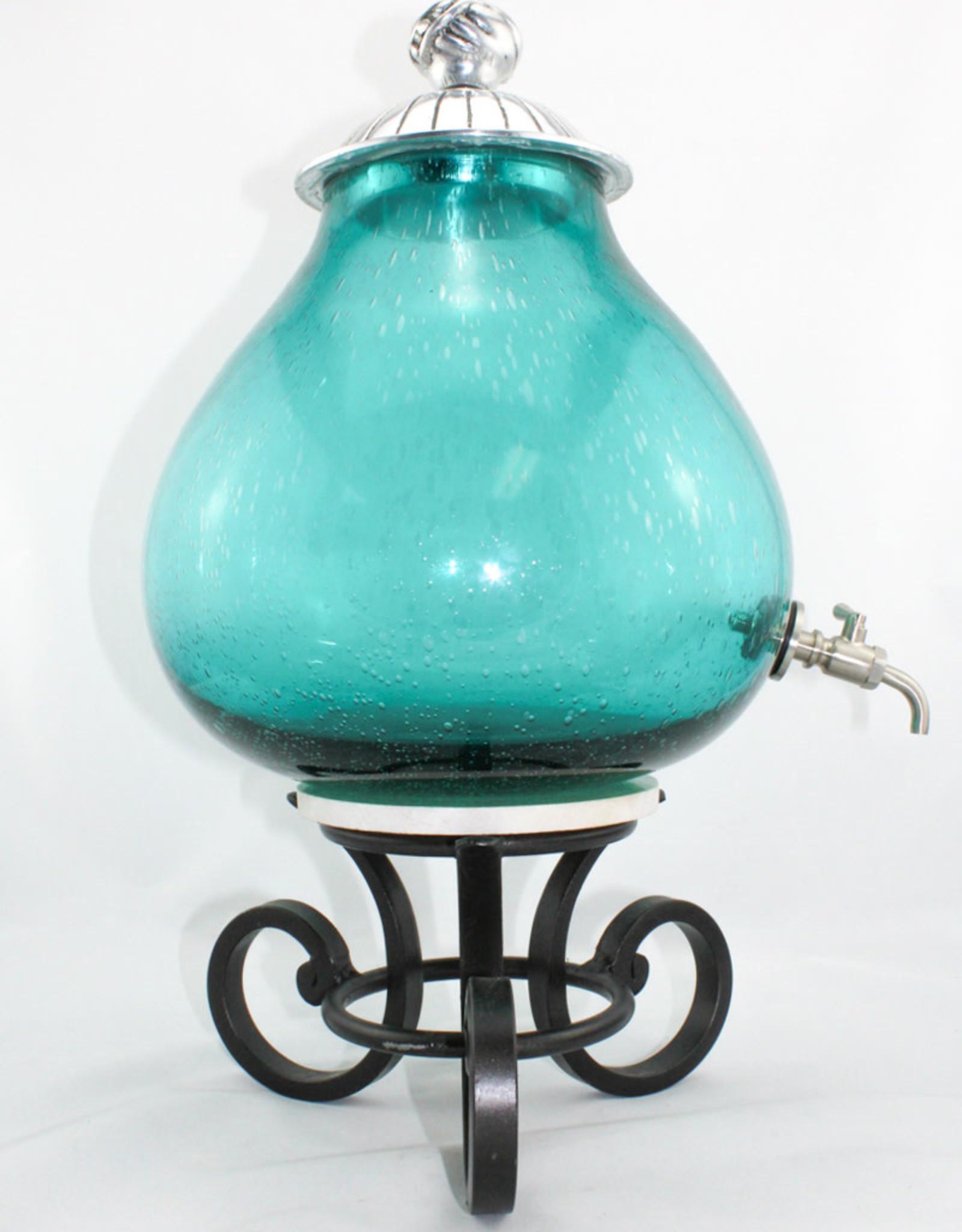 Fresh Cut Glass Aqua Seeded Roundelle Fusion Jar