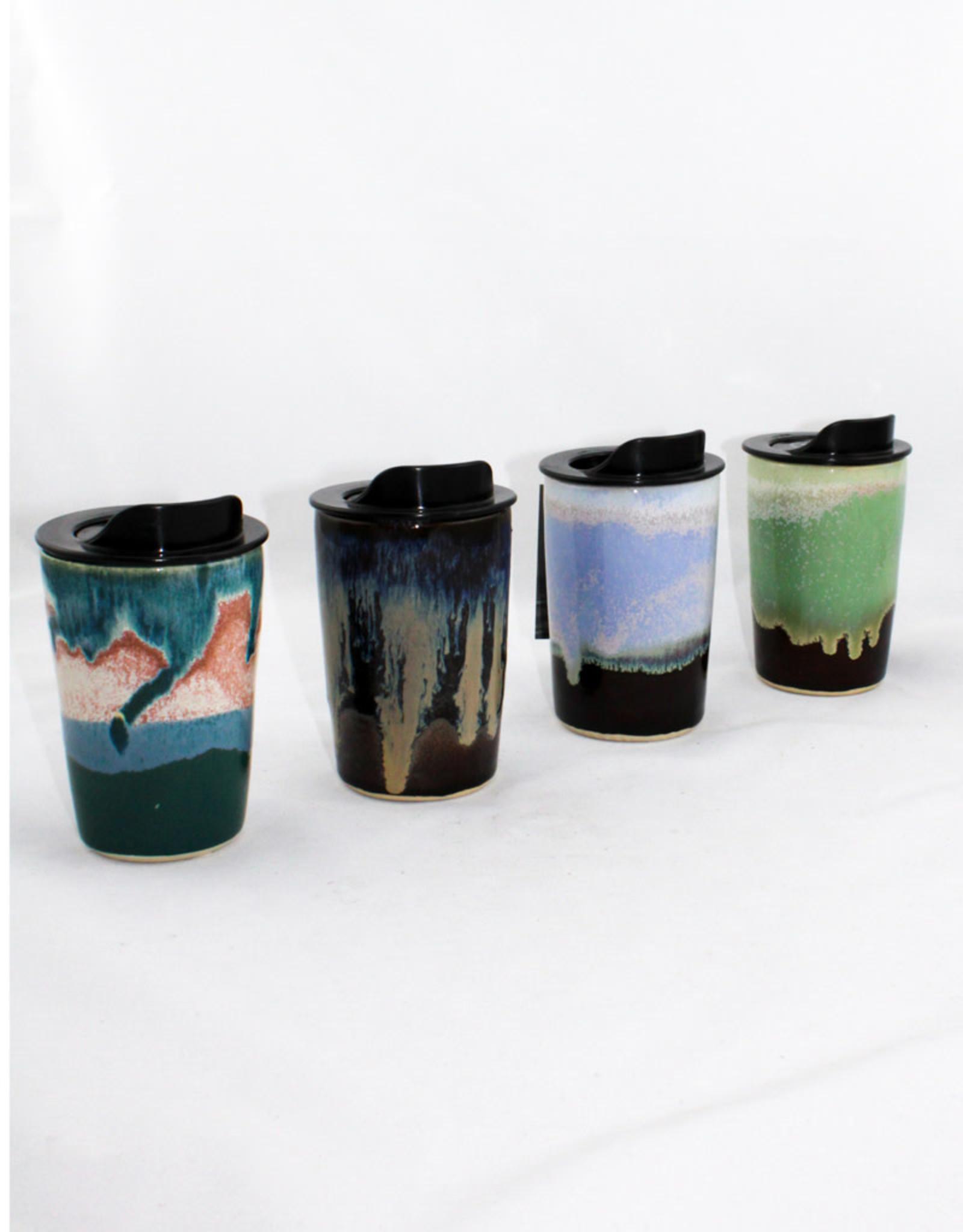 HeartMoss Pottery 12oz. Northern Lights Travel Mug