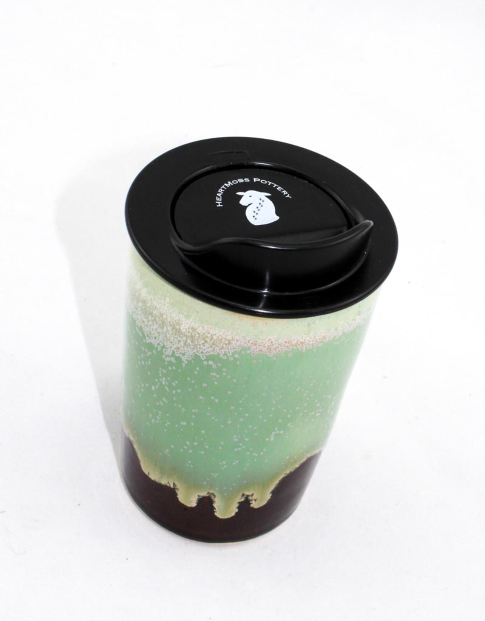 HeartMoss Pottery 12oz. Sea Foam Travel Mug