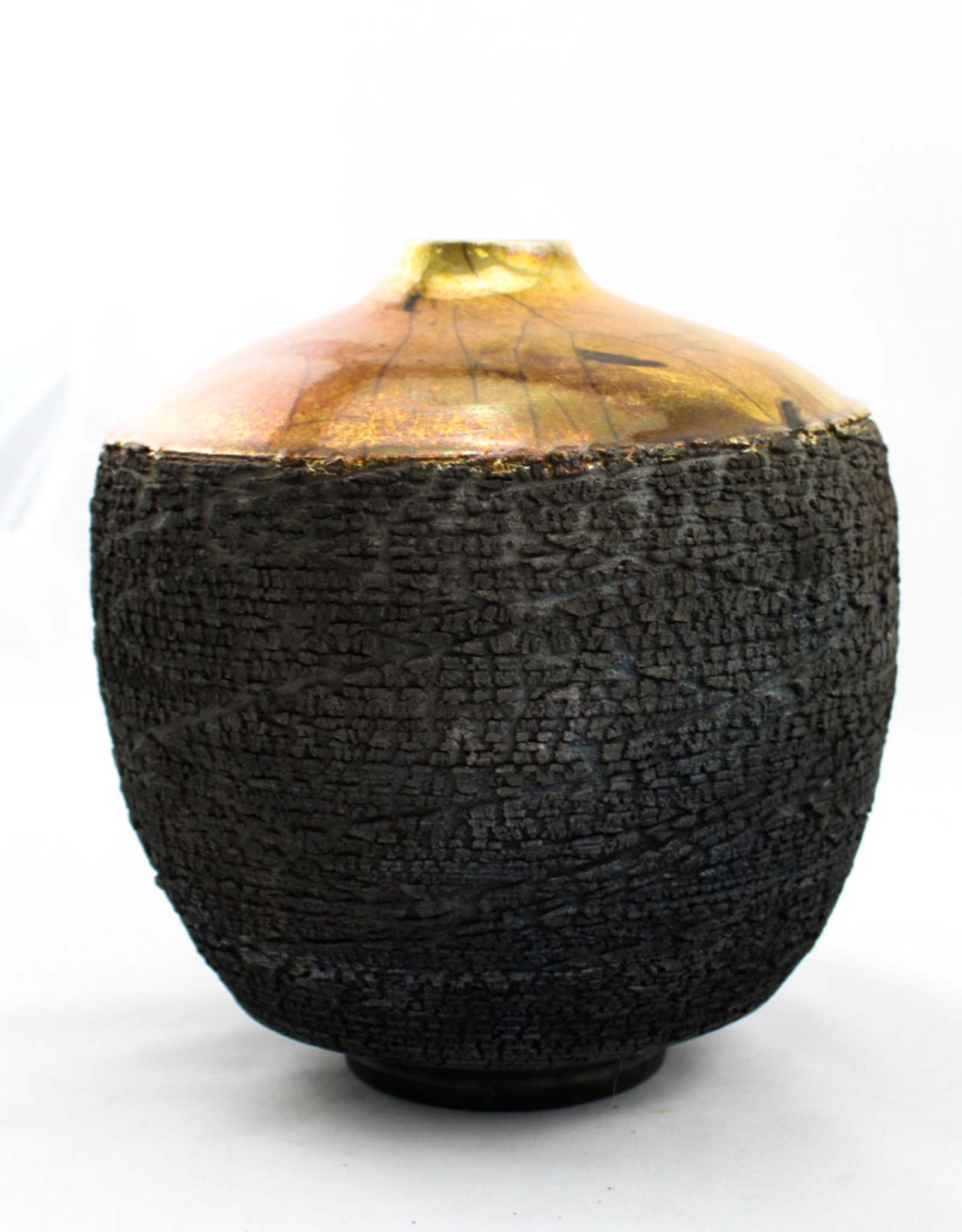 Canton clay works Raku Fired Pot-Med