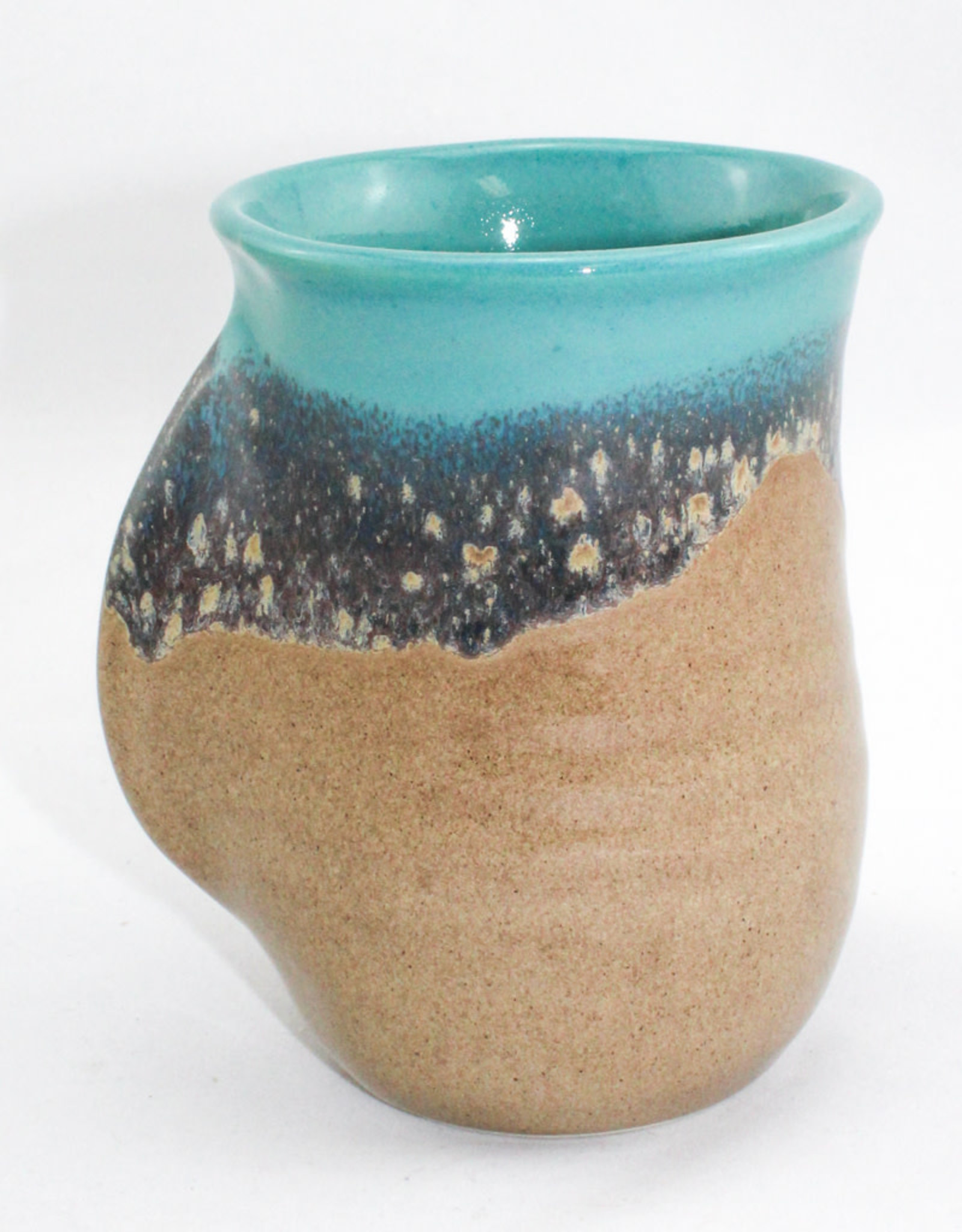 Clay in Motion Handwarmer Mug Right Turquoise