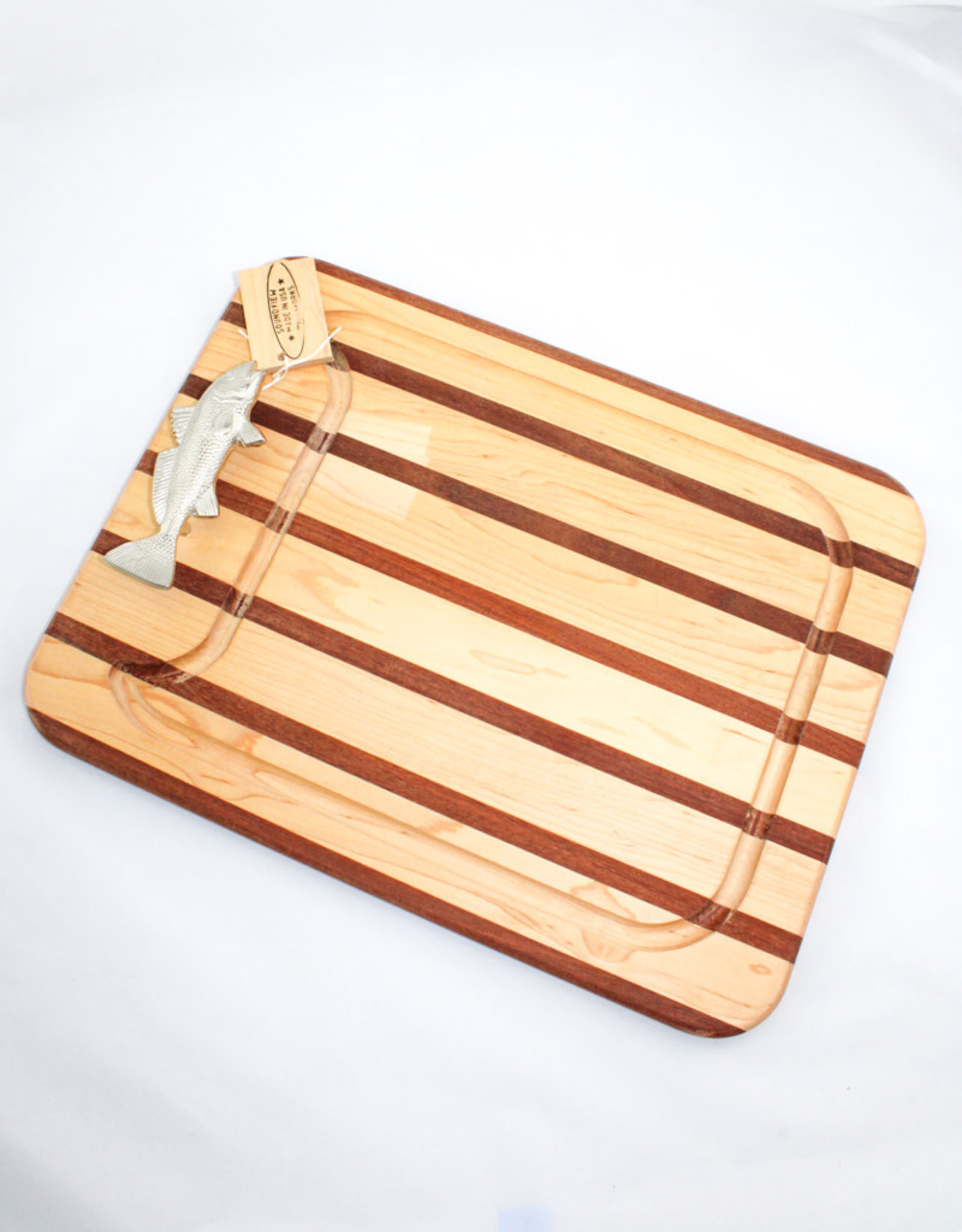 Soundview Millworks Medium Multi Stripe Appetizer Board with Fish Handle