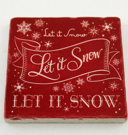 Paisley & Parsley Let it Snow Red Coaster