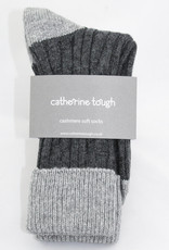 Catherine Tough Men's Cashmere Slouch  Socks Charcoal/Grey