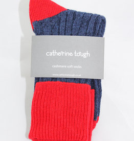 Catherine Tough Ladies Cashmere Slouch Navy/Red