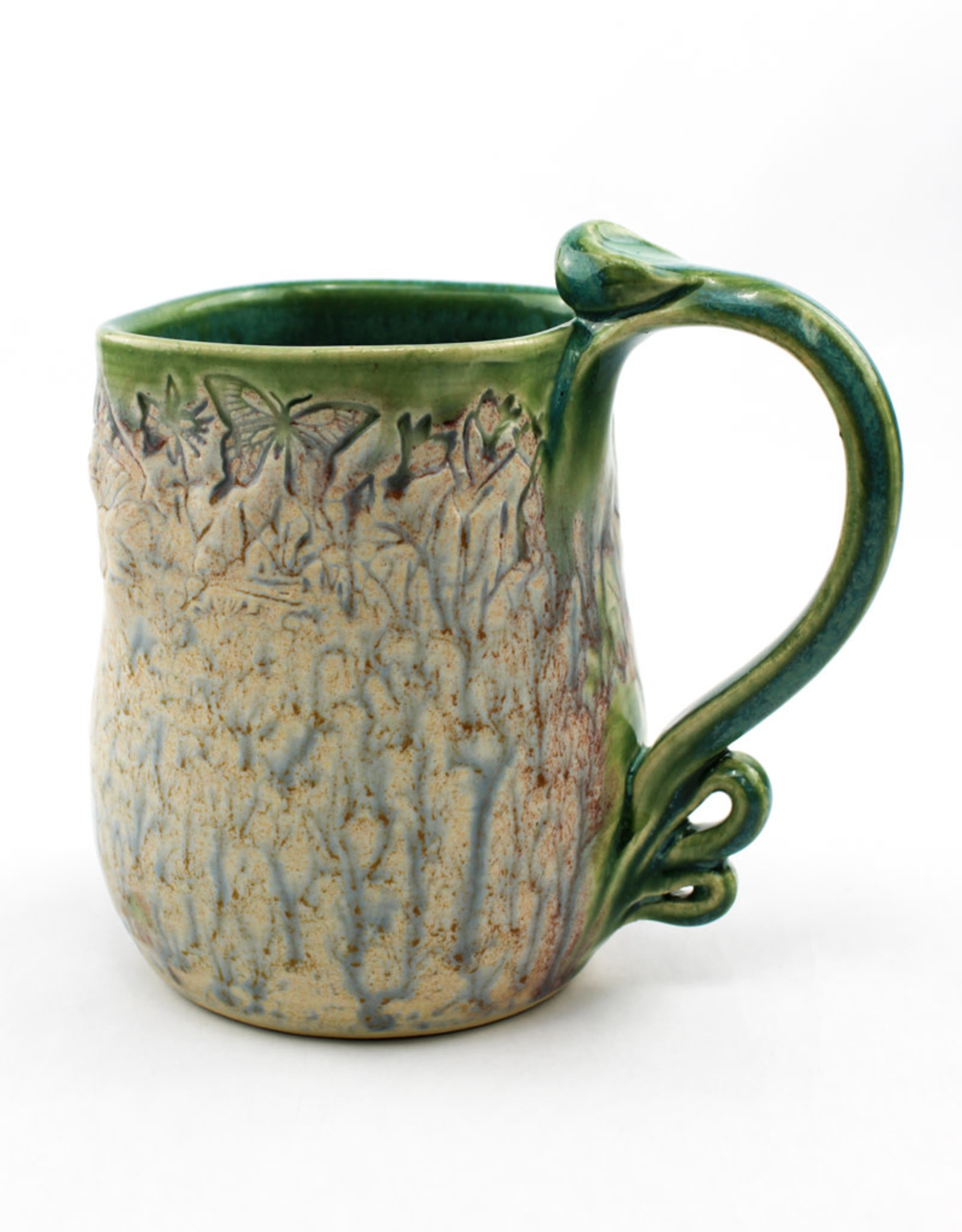 Earth Tones Pottery Pressed Rim Mug-Celadon Green
