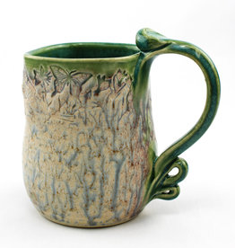 Earth Tones Pottery Pressed Rim Mug-Celadon Green