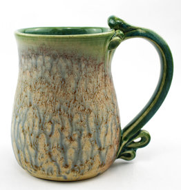 Earth Tones Pottery Round Plain Bottom Mug-Celadon Green