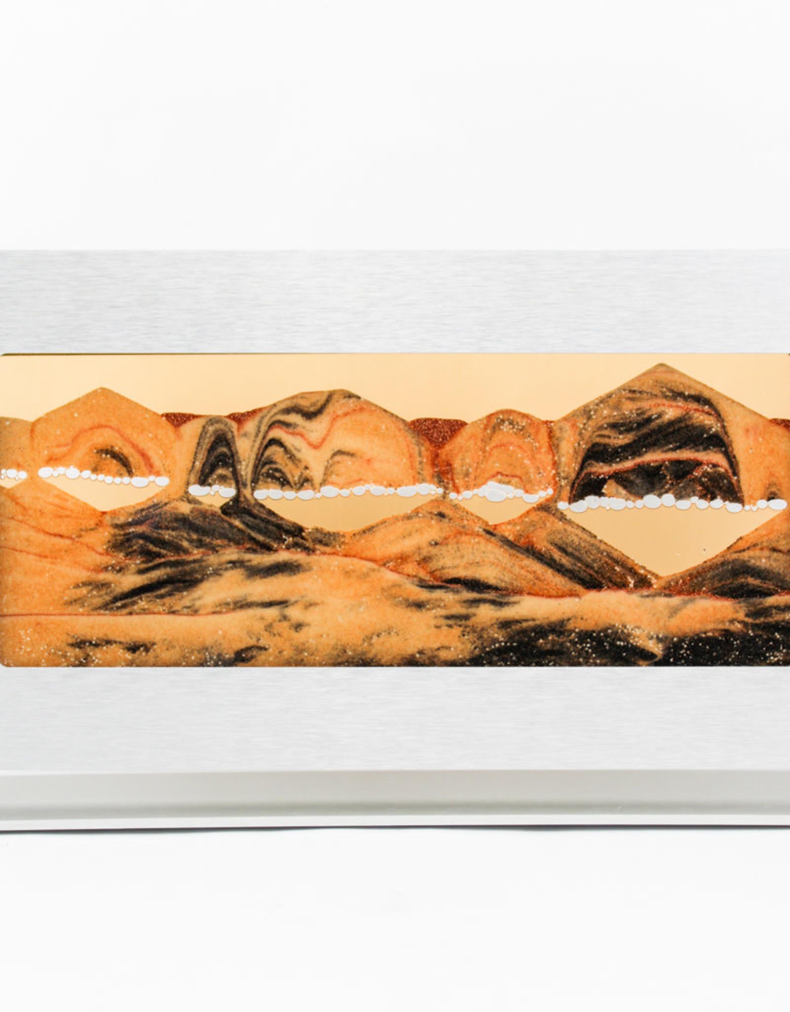 Exotic Sands Sand Art Design Silver Metal Sunset Orange