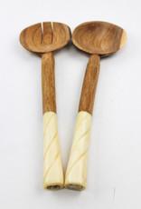 Global Crafts Olive Wood Serving Set- Etched Design