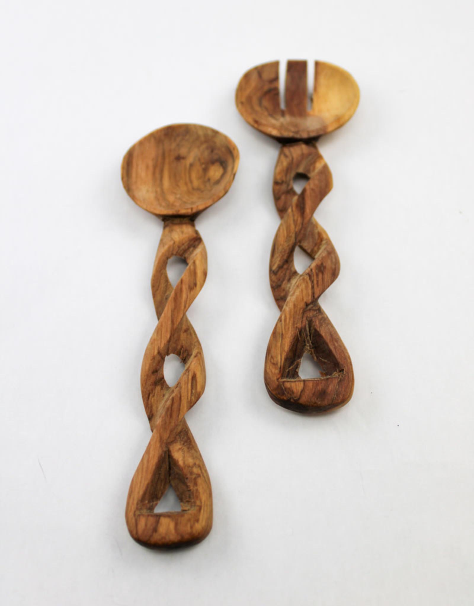 Global Crafts Olive Wood Serving Set- Braided