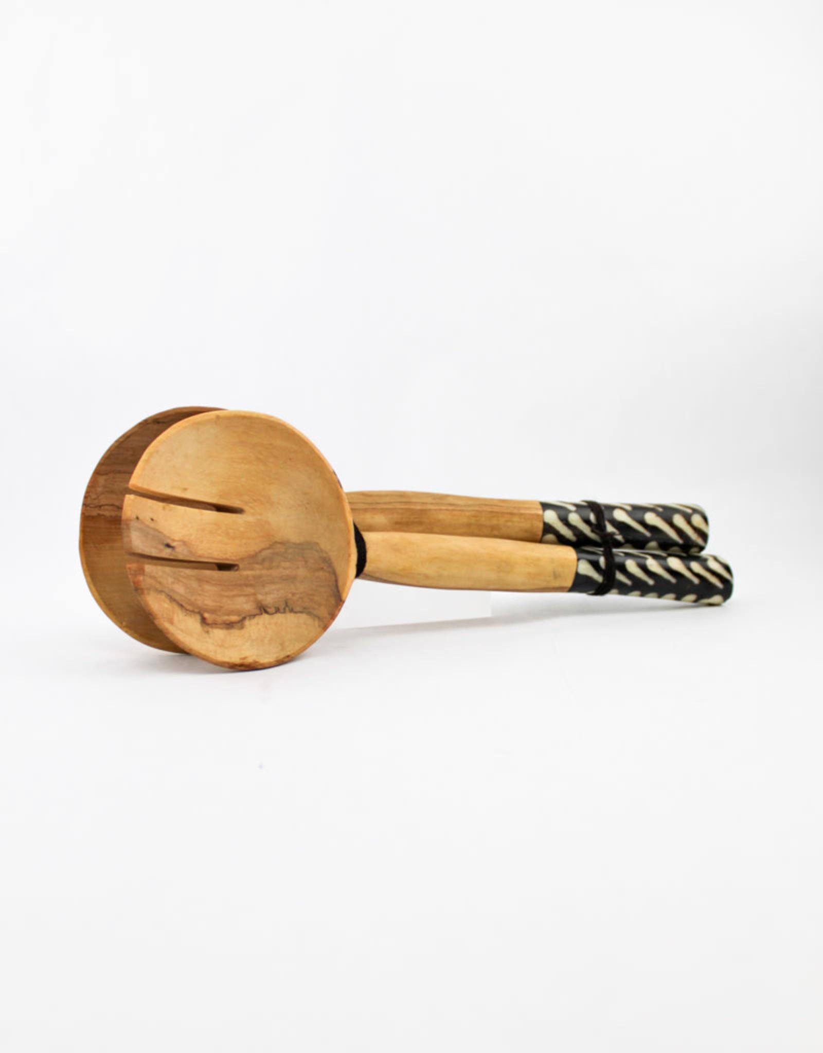 Global Crafts Olive Wood Serving Set- Batik Bone Handles
