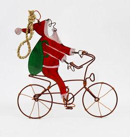 Bike Riding Santa Ornament