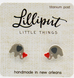 Lilliput Elephant with Heart Earrings