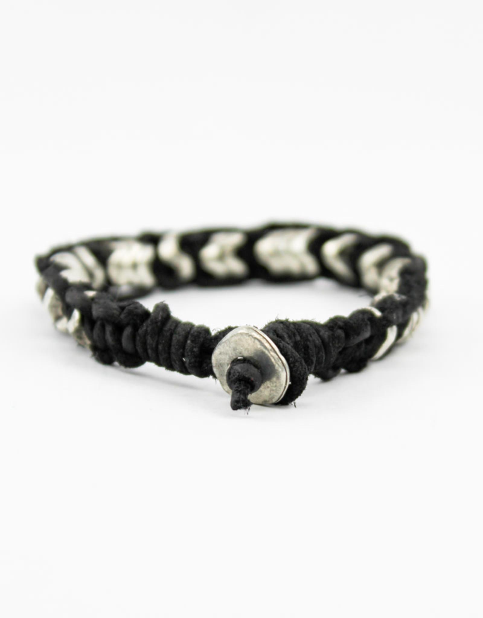 Aadi Black Leather Men's Bracelet